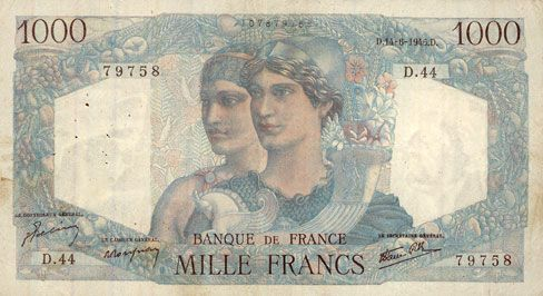 Billets Banque de France. Billet. 1000 francs, Minerve et Hercule, 14.6.1945
