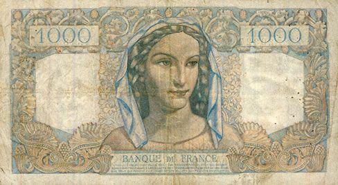 Billets Banque de France. Billet. 1000 francs, Minerve et Hercule, 5.5.1948