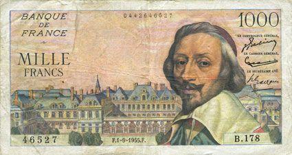 Billets Banque de France. Billet. 1000 francs, Richelieu, 1.9.1955