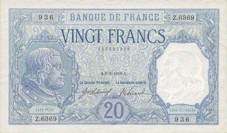 Billets Banque de France. Billet. 20 francs Bayard, 8.2.1919