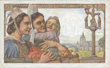 Billets Banque de France. Billet. 20 francs pêcheur, 9.1.1947
