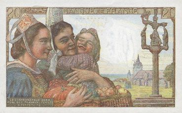 Billets Banque de France. Billet. 20 francs pêcheur, 9.2.1950
