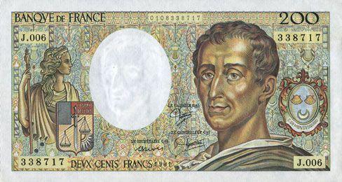 Billets Banque de France. Billet. 200 francs (Montesquieu), 1981