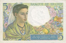 Billets Banque de France. Billet. 5 francs berger, 25.11.1943