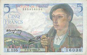 Billets Banque de France. Billet. 5 francs berger, 5.4.1945