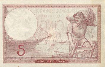 Billets Banque de France. Billet. 5 francs violet, 19.10.1939, modifié