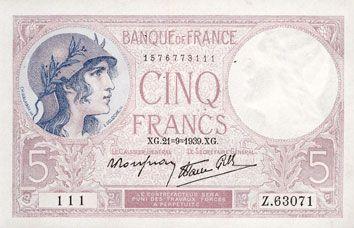 Billets Banque de France. Billet. 5 francs violet, 21.9.1939, modifié