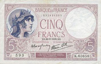 Billets Banque de France. Billet. 5 francs violet, 28.9.1939, modifié