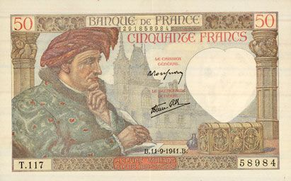Billets Banque de France. Billet. 50 francs Jacques Coeur, 11.9.1941