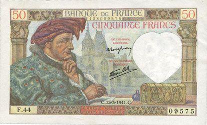 Billets Banque de France. Billet. 50 francs Jacques Coeur, 13.3.1941