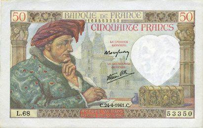 Billets Banque de France. Billet. 50 francs Jacques Coeur, 24.4.1941