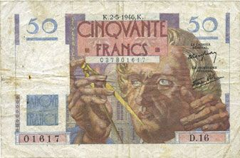Billets Banque de France. Billet. 50 francs Le Verrier, 2.5.1946