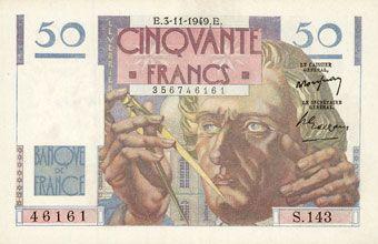 Billets Banque de France. Billet. 50 francs Le Verrier, 3.11.1949