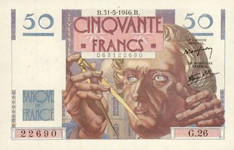 Billets Banque de France. Billet. 50 francs Le Verrier, 31.5.1946
