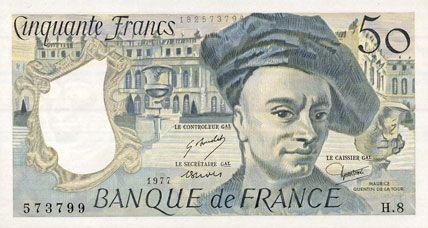 billets de la banque de france banque de france billet 50 francs quentin de la tour 1977. Black Bedroom Furniture Sets. Home Design Ideas