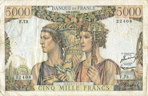Billets Banque de France. Billet. 5000 francs, Terre et Mer, 16.8.1951