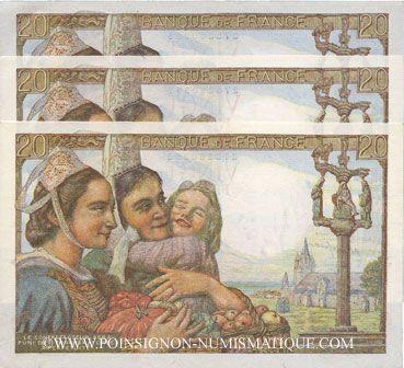 Billets Banque de France. Billets. 20 francs pêcheur numéros consécutifs, 10.2.1944. 3 exemplaires