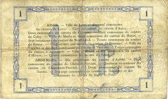 Billets Aisne et  Ardennes - Bon régional, Laon, billet, 1 franc 19.9.1915, 2e série
