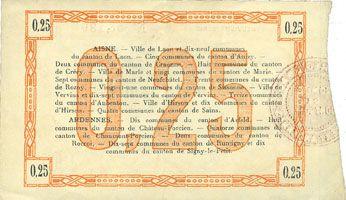Billets Aisne et  Ardennes. Bon régional. Laon. Billet. 25 centimes 19.9.1915. 9e série