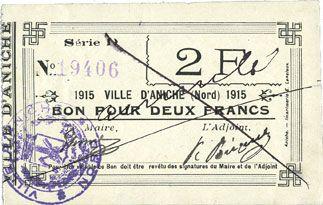 Billets Aniche (59). Ville. Billet. 2 francs 1915, série D