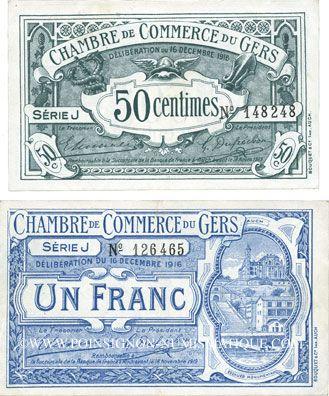 Billets de necessite francais auch 32 chambre de commerce du gers billets 50 cmes 1 franc - Chambre de commerce auch ...