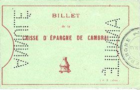 Billets Cambrai (59). Caisse d'Epargne. Billet. 5 francs, série E, épreuve avec double perforation ANNULE
