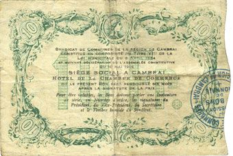 Billets Cambrai (59). Syndicat de Communes de la Région de Cambrai. Billet. 10 francs 10.5.1916, série I