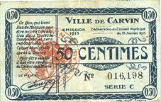 Billets Carvin (62). Ville. Billet. 50 cmes 15.1.1915, série C