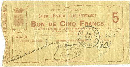 Billets Chauny (02). Caisse d'Epargne et de Provoyance. Billet. 5 francs 15.9.1915, série R