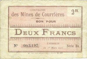 Billets Courrières (62). Compagnie des Mines. Billet. 2 francs du 1.3.1915, série Ba