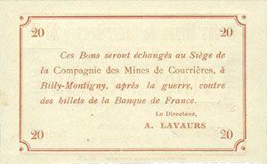 Billets Courrières (62). Compagnie des Mines. Billet. 20 francs du 15.12.1914, série D-V