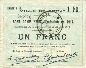 Billets Douai (59). Ville. Billet. 1 franc 30.8.1914, série B6