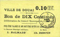 Billets Douai (59). Ville. Billet. 10 centimes 6.5.1915, papier jaune clair