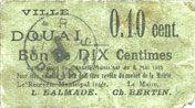 Billets Douai (59). Ville. Billet. 10 centimes 6.5.1915, papier vert pâle