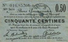 Billets Douai (59). Ville. Billet. 50 centimes 30.8 et 15.10.1914, nlle série, A