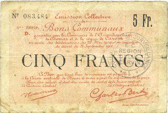 Billets Douai et Région de Carvin (59). Billet. 5 francs 22.5.1916, 4e série D