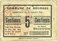 Billets Dourges (62). Commune. Billet. 5 centimes 18.10.1915