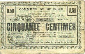 Billets Dourges (62). Commune. Billet. 50 centimes 15.4.1915, série PQ