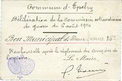Billets Epehy (80). Commune. Bon municipal de 2 francs 25 cmes 6.8.1914