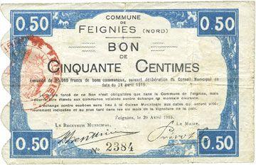 Billets Feignies (59). Billet. 50 centimes 29.4.1915