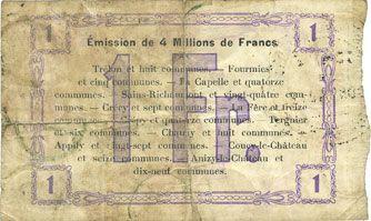 Billets Fourmies (59). Bon Régional Nord, Aisne et Oise. Billet. 1 franc 24.10.1915, 2e série