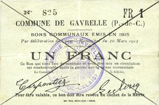 Billets Gavrelle (62). Commune. Billet. 1 franc 20.3.1915