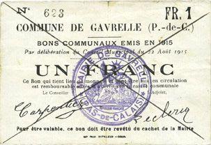 Billets Gavrelle (62). Commune. Billet. 1 franc 22.8.1915