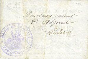Billets Gavrelle (62). Commune. Billet. 5 francs 22.8.1915