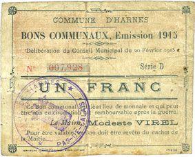 Billets Harnes (62). Commune. Billet. 1 franc 20.2.1915, série D