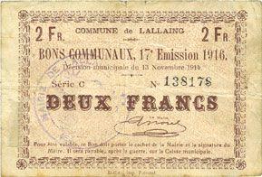 Billets Lallaing (59). Commune. Billet. 2 francs 13.11.1914, 17e émission 1916, série C