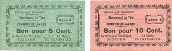 Billets Lavaur (81). Commune. Billets. 5 centimes série A, 10 centimes série B