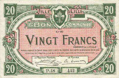 Billets Lille (59). Ville. Billet. 20 francs 11.4.1917