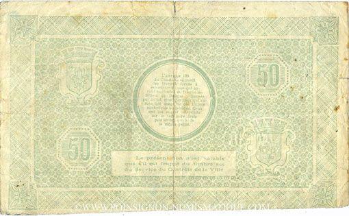 Billets Lille (59). Ville. Billet. 50 francs 15.12.1917, série I