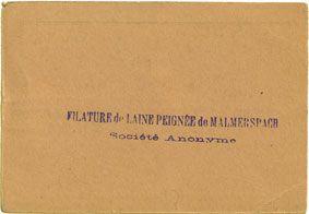 Billets Malmerspach (68). Filature de laine peignée. Billet. 100 francs 18.6.1940, signature : de Niele